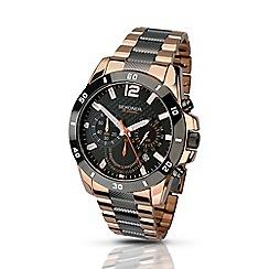 Sekonda - Mens rose gold and gunmetal chronograph bracelet watch