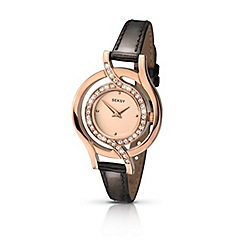 Seksy - Ladies rose gold plated stone set fashion strap watch made with Swarovski «elements