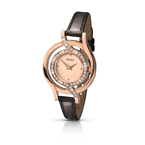 Seksy - Ladies rose gold plated stone set fashion strap watch made with Swarovski  elements