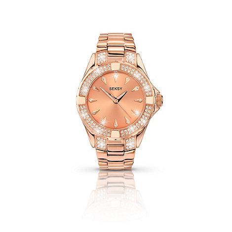 Seksy - Ladies rose gold plated stone set fashion bracelet watch made with Swarovski  elements 4669.37