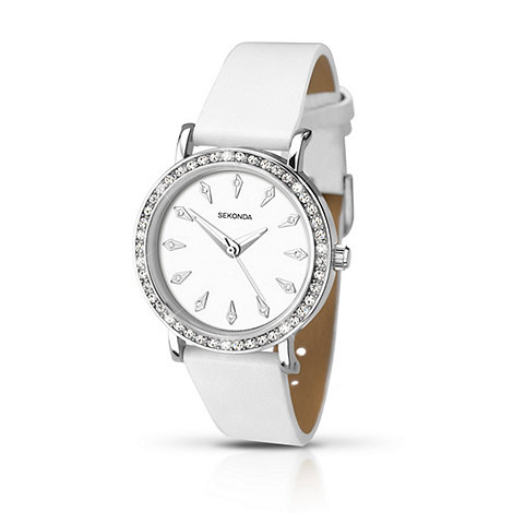 Sekonda - Ladies chrome coloured stone set strap watch