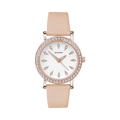 Sekonda - Ladies rose gold plated stone set strap watch