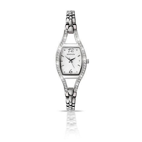 Sekonda - Ladies chrome coloured stone set bracelet watch 4191.28