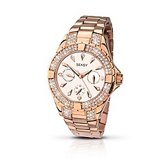 Seksy - Ladies rose gold plated stone set bracelet watch made with Swarovski ®elements