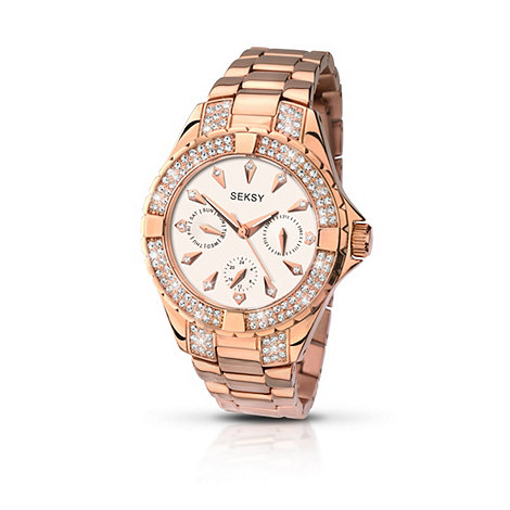 Seksy - Ladies rose gold plated stone set bracelet watch made with Swarovski  elements 2012.37