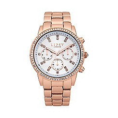 Lipsy - Ladies rose tone bracelet watch with white dial