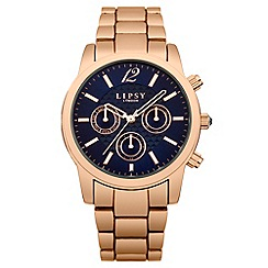 Lipsy - Ladies rose tone bracelet watch with blue dial