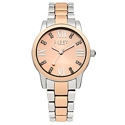 Lipsy - Ladies two tone bracelet watch wuth rose tone dial