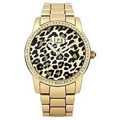 Lipsy - Ladies gold tone bracelet watch with leopard print dial