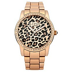Lipsy - Ladies rose tone bracelet watch with leopard print dial