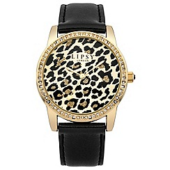 Lipsy - Ladies black strap watch with leopard print dial