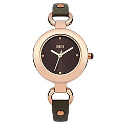 Oasis - Ladies grey leather strap watch with grey dial