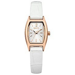 Oasis - Ladies white strap watch with silver tone dial