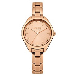 Oasis - Ladies rose tone bracelet watch with rose tone dial
