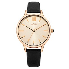 Oasis - Ladies black leather strap watch with rose tone dial