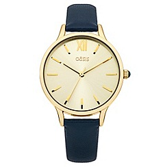 Oasis - Ladies blue leather strap watch with gold tone dial