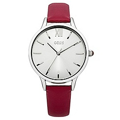 Oasis - Ladies red leather strap watch with silver tone dial