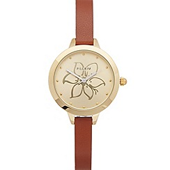 Pilgrim - Ladies gold plated leather watch