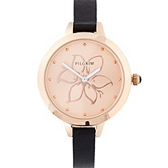 Pilgrim - Ladies black leather strap flower dial watch