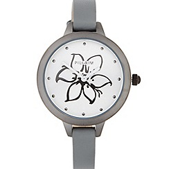Pilgrim - Ladies grey leather strap flower dial watch