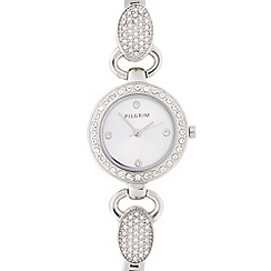Pilgrim - Ladies stainless steel diamante lug bracelet watch