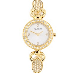 Pilgrim - Ladies gold plated stainless steel diamante lug bracelet watch