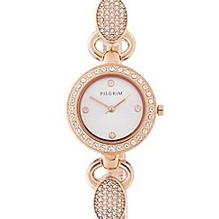Pilgrim - Ladies rose gold plated stainless steel diamante lug bracelet watch