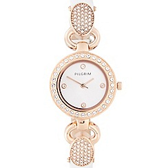 Pilgrim - Ladies white leather strap diamante lug watch