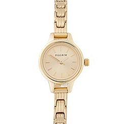 Pilgrim - Ladies gold plated stainless steel mini dial bracelet watch