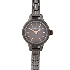 Pilgrim - Ladies dark grey stainless steel mini dial bracelet watch
