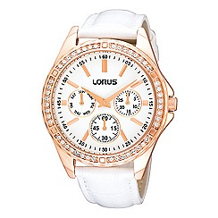 Lorus - Ladies white leather strap watch