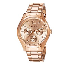 Esprit - Ladies IP rose gold multifunction bracelet watch with crystal set dial