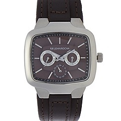 RJR.John Rocha - Designer men's dark grey leather multi-dial watch