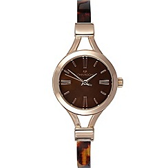 RJR.John Rocha - Ladies designer rose tortoiseshell skinny demi watch