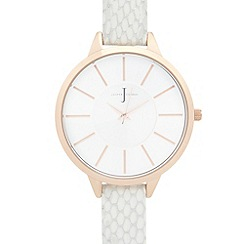 J by Jasper Conran - Ladies designer white leather snakeskin strap watch