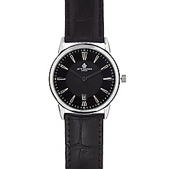 Jeff Banks - Men's black leather analogue watch