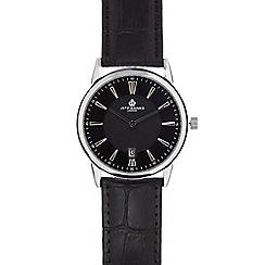 Jeff Banks - Men's black leather analogue watch