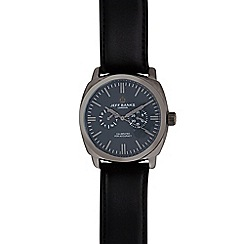 Jeff Banks - Men's black leather mock chronograph watch