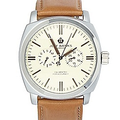 Jeff Banks - Men's designer tan square multi dial leather watch