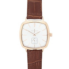 J by Jasper Conran - Men's designer brown leather mock croc watch