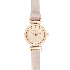 J by Jasper Conran - Ladies designer light pink mini Swarovski dial watch