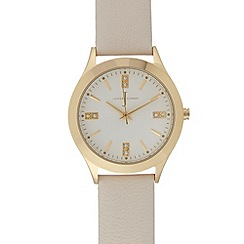 J by Jasper Conran - Designer ladies cream leather strap Swarovski detail watch