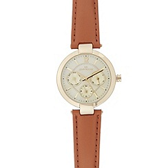 RJR.John Rocha - Designer ladies tan leather strap and mother of pearl watch