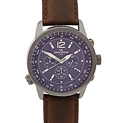 RJR.John Rocha - Men's designer brown leather chronograph compass watch