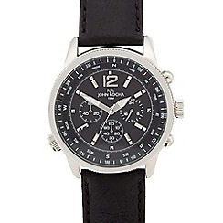 RJR.John Rocha - Men's designer black leather chronograph compass watch