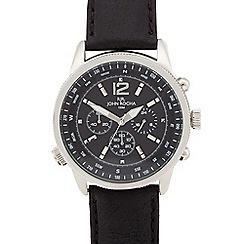 RJR.John Rocha - Men's designer black leather chronograph compass watch