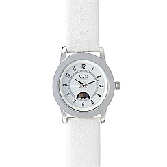 Van Peterson 925 - White leather sun moon and star ladies watch