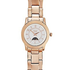 Van Peterson 925 - Ladies rose gold vermeil sun moon and star watch