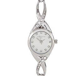 Infinite - Ladies silver crystal cross over watch