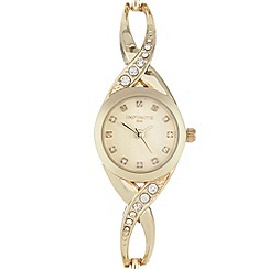 Infinite - Ladies gold crystal cross over watch